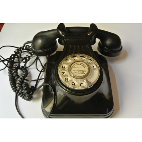 TELÉFONO ANTIGUO BAQUELITA DE SOBREMESA EN NEGRO. VINTAGE